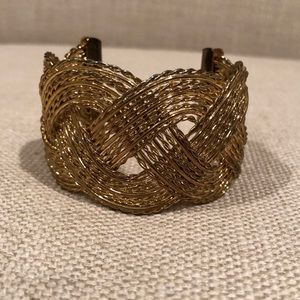 Gold braided cuff bracelet